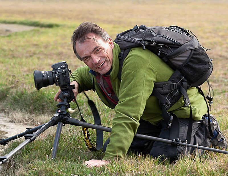Henri Leduc photographing in the Cotopaxi national park