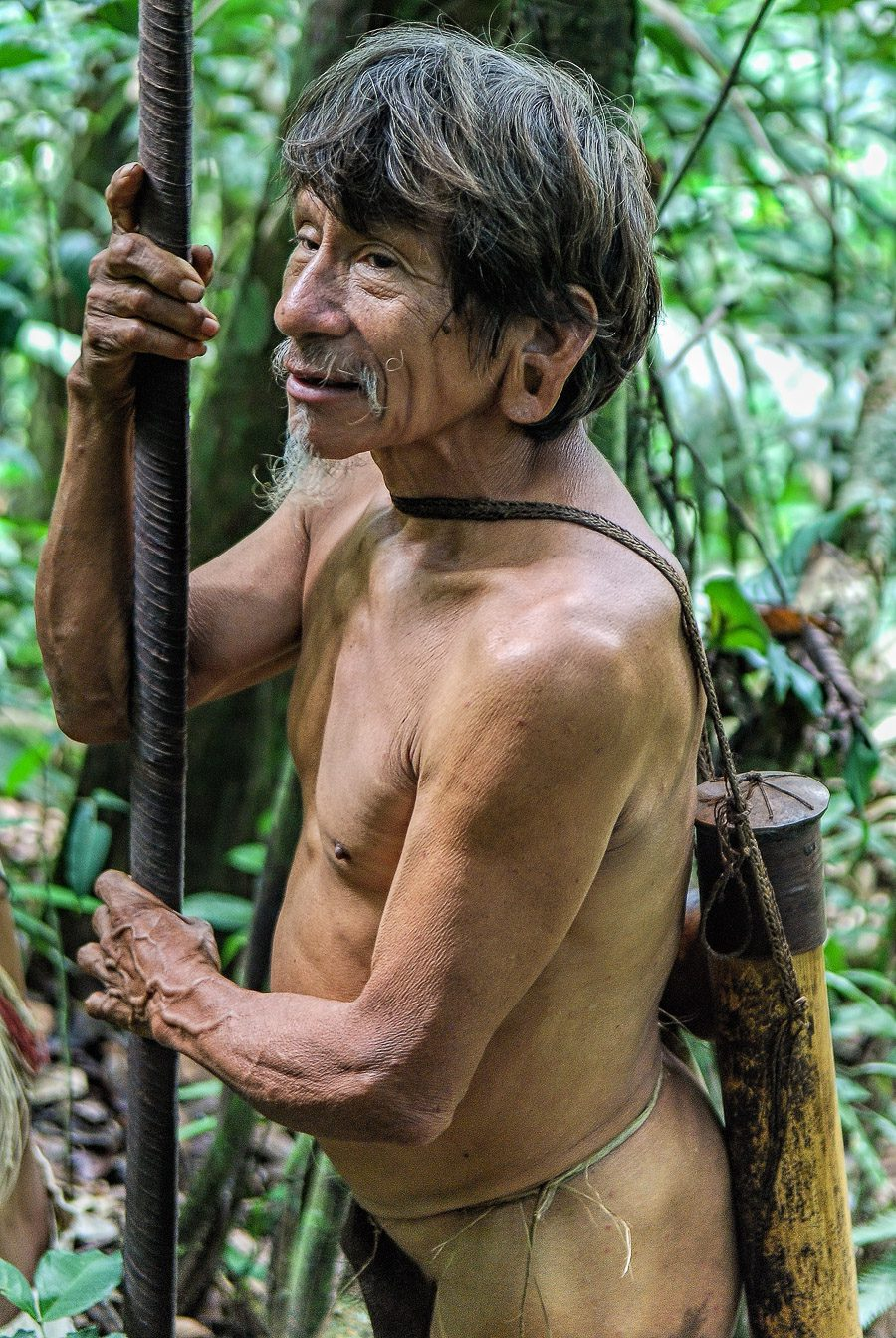 Old Huaorani warrior (estimated age between 60 - 70 years old) with his blowpipe