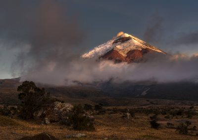 Cotopaxi volcano between night and day