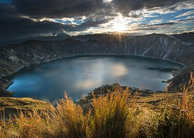 Quilotoa lagoon and crater at sunrise
