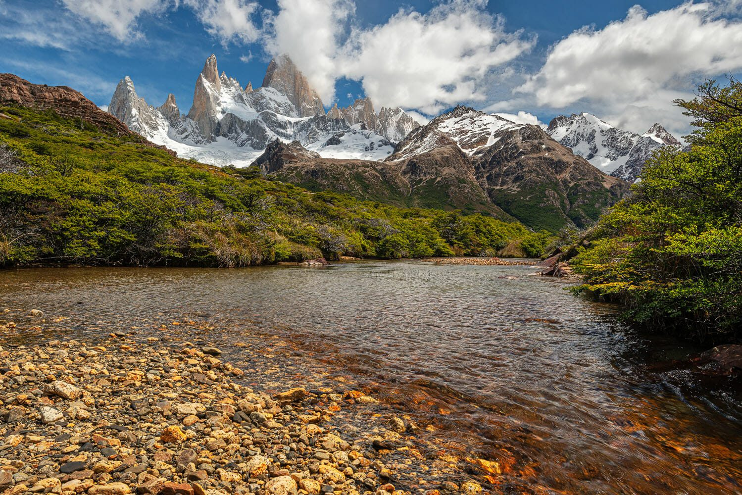 River and general view of the Fitz Roy mountain range