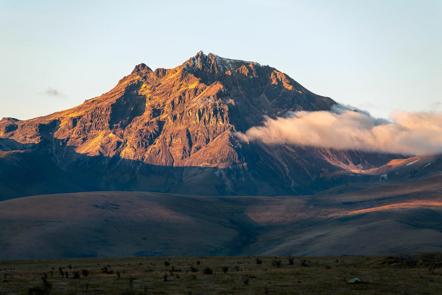 Sincholagua volcano at sunset