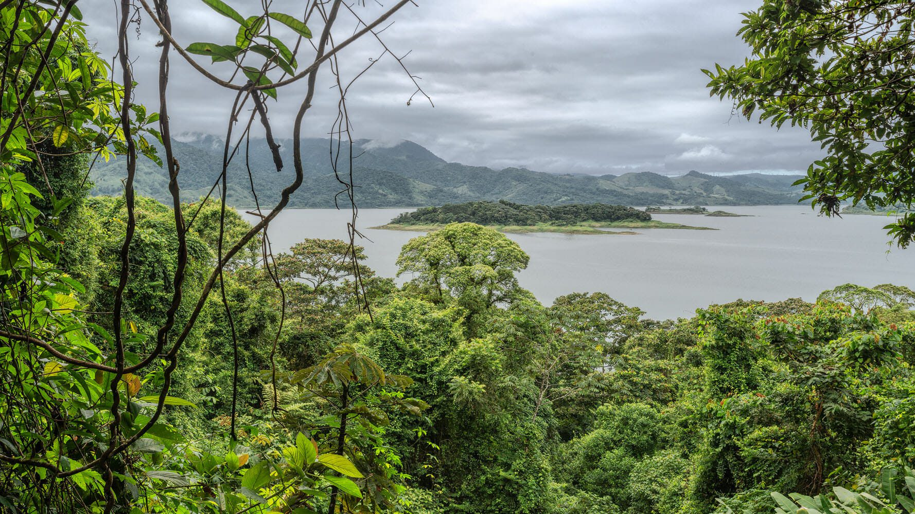 The Arenal lake surrounded by tropical vegetation
