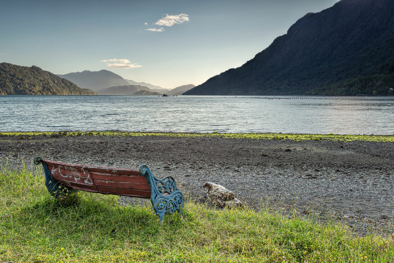 Bench with a peacefull view on the Hornopiren fjord