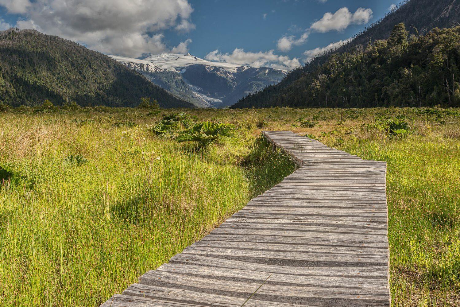 Hiking bridge and path to the Michinmahuida glacier - Pumalin national park