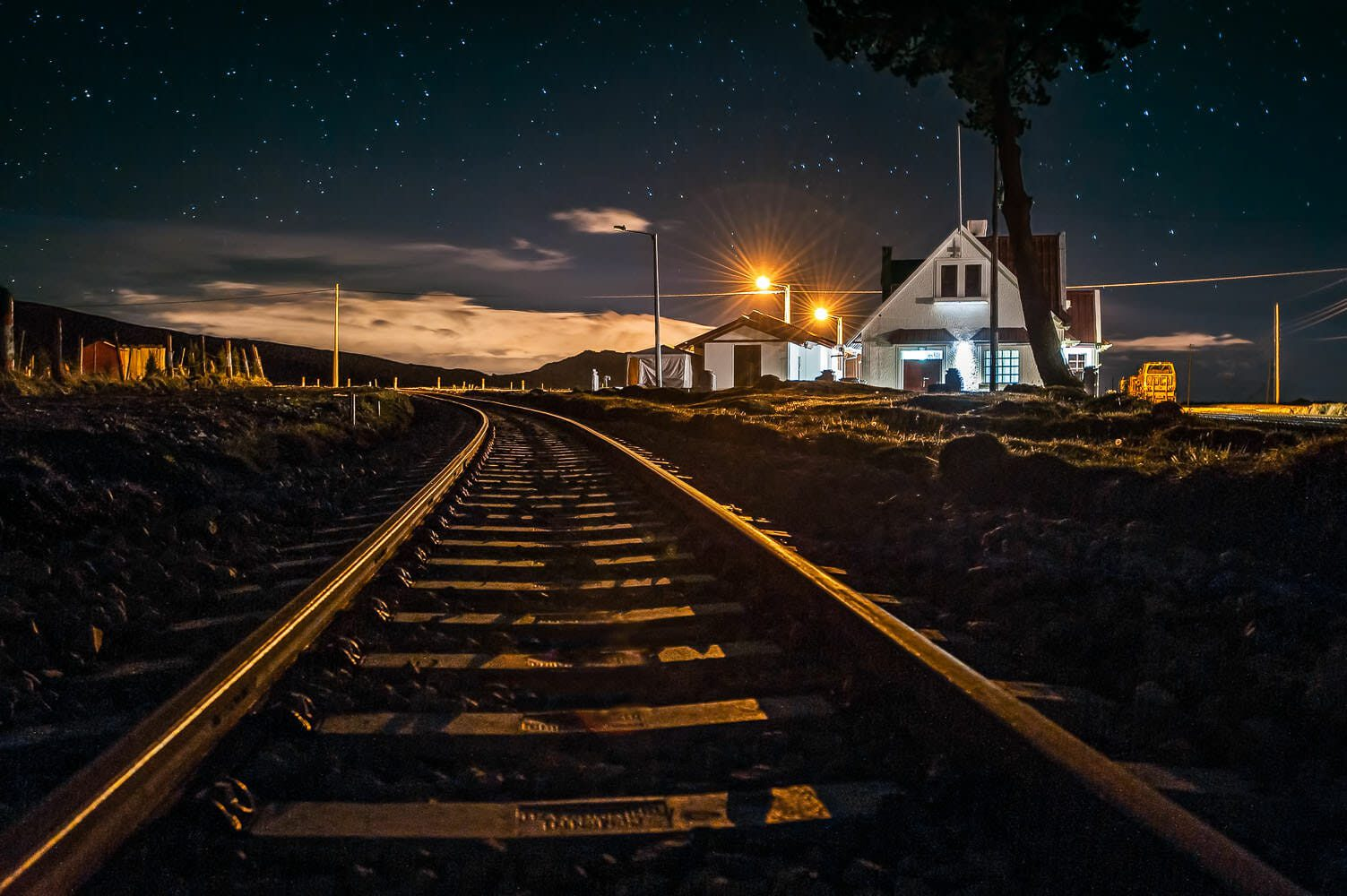 Starry night at the highest railway station in Ecuador