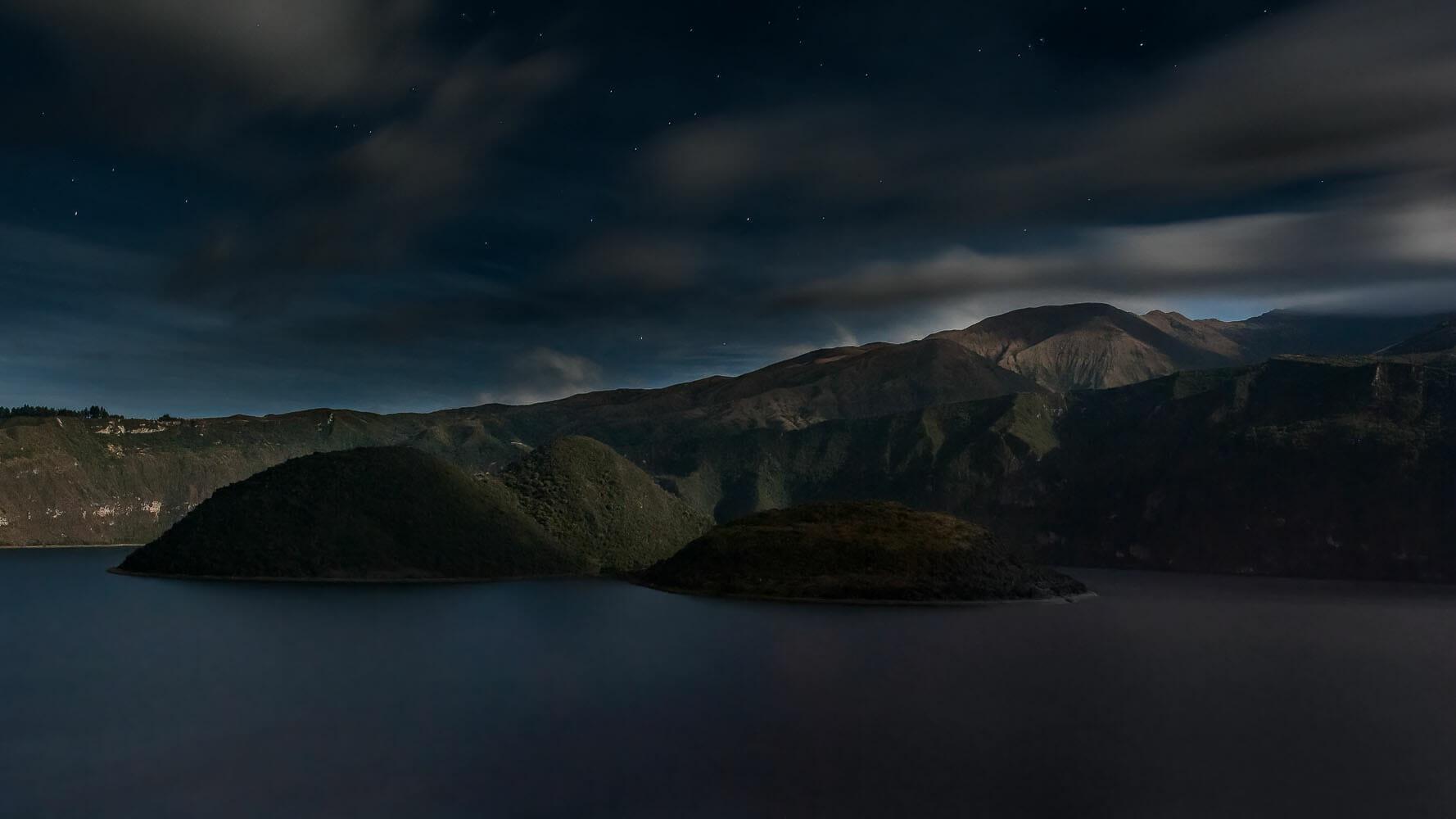 Twilight invades the Cuicocha lake and crater-Imbabura-Ecuador