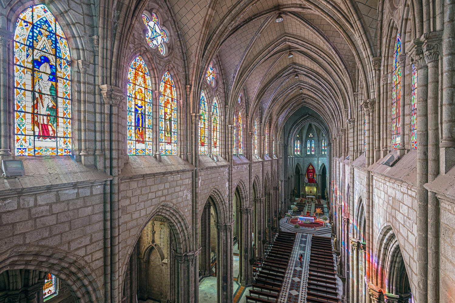 Basilica of Quito central nave view from above