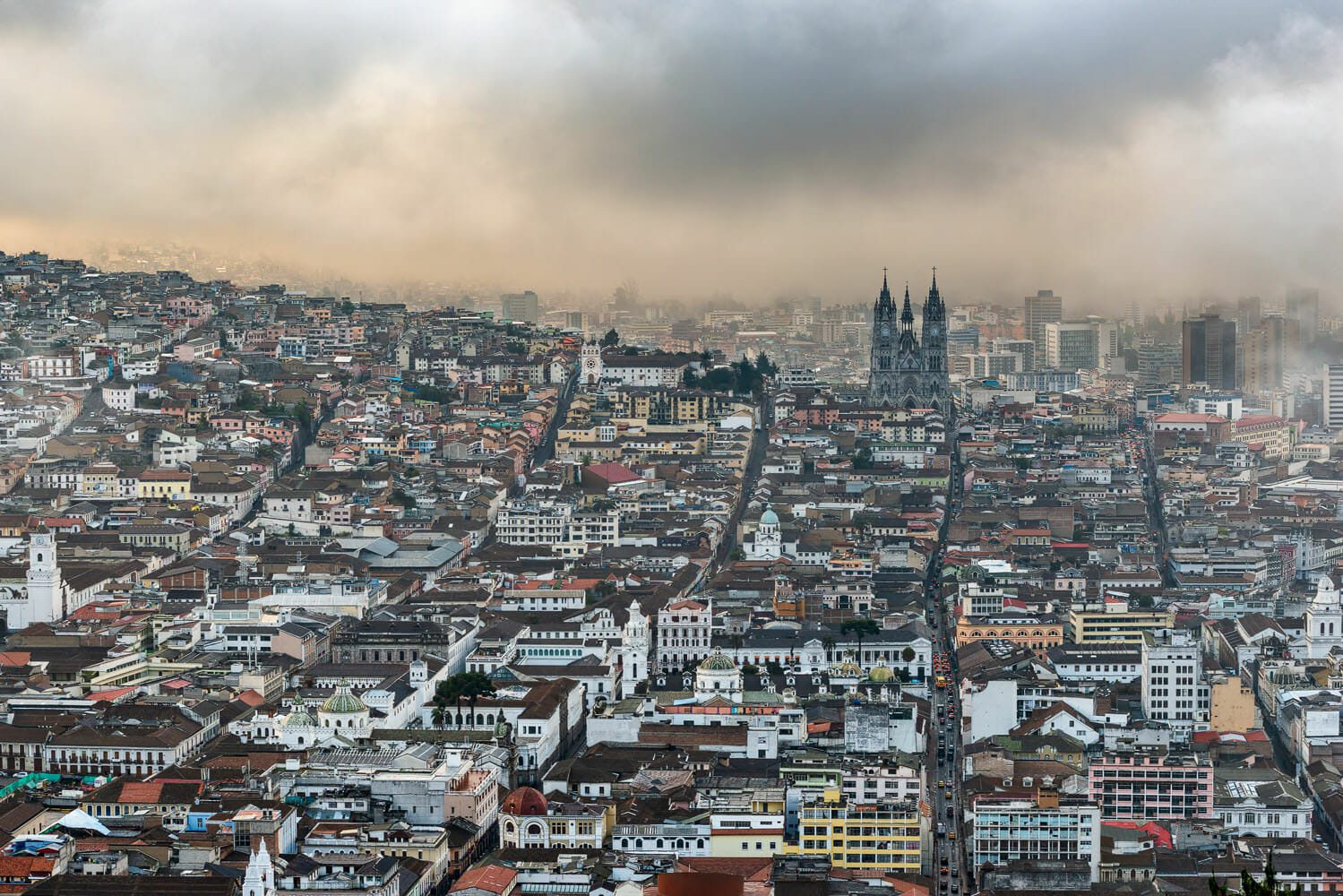 Bird's eye view on the old historic town of Quito